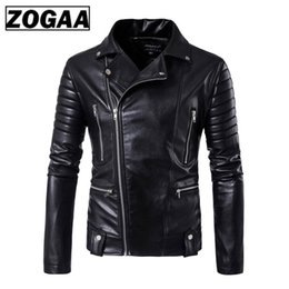 punk motorcycle jacket NZ - Men Leather Jackets Jackets and Coats Side Zipper Punk Slim Fit Faux Leather PU Motorcycle Rock Junior Tops And Outwear