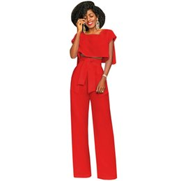 2f0caf2c8524 Two Piece Set Jumpsuit Summer Short Sleeve Casual Loose Wide Leg Jumpsuits  Office Party Overalls Elegant Rompers Womens Jumpsuit
