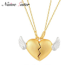 Real gold chain pendant foR men online shopping - 2Pcs Set Real Sterling Silver Heart Pendant Couple Necklace Gold Color Long Heartbreak Jewelry for Women Men Wing Lover Gift