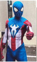 Wholesale captain america full suit online – ideas High Quality Captain America Spider Man Spiderman Cosplay Costume Zentai Superhero Bodysuit Suit Jumpsuits