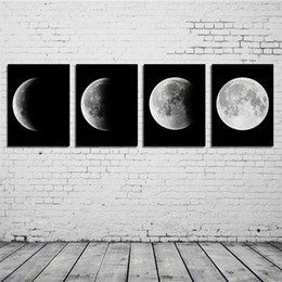 moon painting abstract 2019 - Small 20*30cm 4PCS Canvas Print Abstract Moon Poster Painting Art Wall Decoration Change Moon Pictures Decor Frameless P