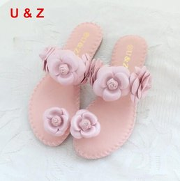 Beautiful sandals online shopping - Female fashion Summer soft flats sandals Camellia Flower Sweet Flip Flops Real leather beautiful flower Slippers for woman shoes