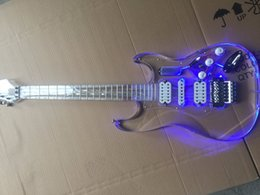 Quality guitar brands online shopping - Electric Guitar Anmiyue Brand All Acrylic Double Rock Guitar High Quality LED Lamp Guitar China Electric Guitar