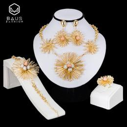 Big Sets Beads Australia - BAUS African jewelry sets Dubai Gold color big Nigerian jewelry sets Wholesale bridal bead wedding Jewelry set Women costume