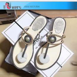 flat pearls white Australia - Designer Women sandals Rhinestones & Pearls Decration Round Toe Flat Casual Shoes Women