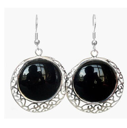 $enCountryForm.capitalKeyWord Australia - brinco brincos Women Gift word Love 925 Sterling Silver Hook Natural Black stone Onyx Dangle Earrings for women jewelry