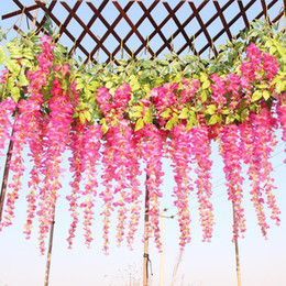 $enCountryForm.capitalKeyWord Australia - 12pcs  lot Wedding Decor Artificial Silk Wisteria Flower Vines hanging Rattan Bride flowers Garland For Home Garden Hotel