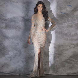 full length sparkly dress UK - Fashion Nude full Sleeve Evening Dresses Long Robe De Soiree sparkly crystal Mermaid Evening Gown Formal Dresses Slit Front