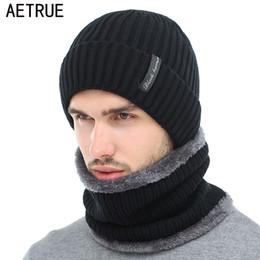 13925d0e2 AETRUE Winter Beanies Men Scarf Knitted Hat Caps Mask Gorras Bonnet Warm  Baggy Winter Hats For Men Women Skullies Beanies Hats C18122501