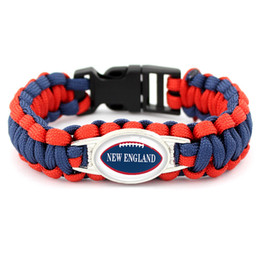 Cheap Christmas Gift Jewelry Australia - Cheap Creative Design Glass Convex Ellipse New England Football Team Survival Paracord Jewelry Vintage Umbrella Rope Bracelet Christmas Gift