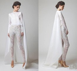 $enCountryForm.capitalKeyWord Australia - 2019 New White Evening Dresses Two Pieces Chiffon Lace Pearl Trousers See Through Long Sleeves Elio Abou Fayssal Evening Gowns With Jacket
