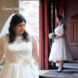 $enCountryForm.capitalKeyWord Australia - White Wedding Dresses Plus Size Jewel With Lace Applique Wedding Gowns Back Zipper With Sashes Tea-Length Custom Made Bridal Dresses 2019