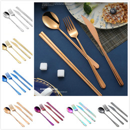 Korean spoons online shopping - Korean flatware sets stainless steel long handle knife fork spoon chopsticks set colorful flatware for wedding kitchen accessories