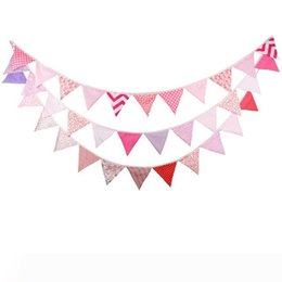 fabric bunting wholesaler UK - 3pcs lot 12 Flags - 3.2M Cotton Fabric Banners Pink Bunting Decor Wedding Garland Girl's Birthday Party Decoration bunting