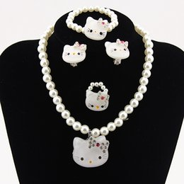 $enCountryForm.capitalKeyWord Australia - Kids Baby Girls Princess necklaces Crystal KT Cat Necklace Imitation Pearl Beads Jewelry Ring Set Children Party Xmas Gifts
