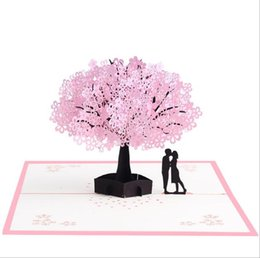 cherry blossom gifts UK - Pink romantic cherry blossom 3D original paper carving handmade Valentine's Day gift card festival wedding blessing wishing thanks card