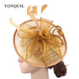 novelty flower hat NZ - Gold sinamay hats feather flower fascinators for party hats bridal hair accessories wedding cocktail hats High quality SYF205 T200508