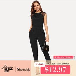 $enCountryForm.capitalKeyWord Australia - Sheinside Elegant Eyelash Lace Sleeve Black Jumpsuits Women 2019 Summer Solid Casual Mid Waist Jumpsuits Tapered Maxi Jumpsuits Y19060501