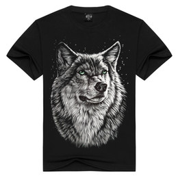 Black Shirt Loose Skull Australia - White Wolf Printing Design Men's 100% Cotton T-shirt Men Black Shirt 3d Skull T-shirts Loose Tshirt Man Plus Size C19041901