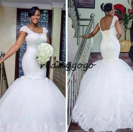 Pastel Short Wedding Dresses NZ - Luxury African White Wedding Dresses 2019 Mermaid Plus Size church castle Bridal Gown Vintage Lace Up Short Sleeves