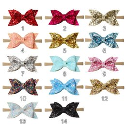 Fashion 3.5INCH Sequins Glitter Head Wrap Artificial Leather Litchi Stria  Bows Nylon Soft Baby Girls Headband Best quality Best price e2c318886502