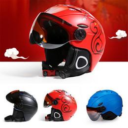 Red Half Helmet Australia - Professional Unisex Half-covered Ski Helmet Integrally-molded Sports Skiing Helmets Snowboard Goggles Mask Skateboard Helmet