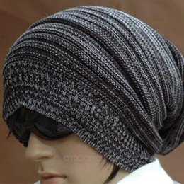 womens baggy beanie hats UK - New Unisex Womens Mens Knit Baggy Beanie Hat Winter Warm Oversized Cap