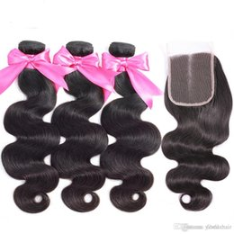 $enCountryForm.capitalKeyWord Australia - Lucky Queen Brazilian Virgin Hair Body Wave Hair Weave 3 Bundles Full Head Set Unprocessed Virgin Human Hair Weave Natural Black 10-26inch