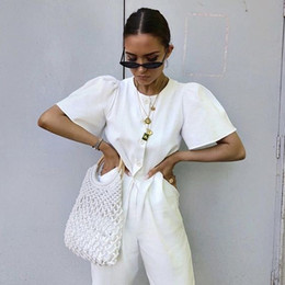 Hollow Fiber Australia - Hollow Net straw bag cotton hand-woven round wood ring rattan portable female 2019 summer straw bag new Beach bag