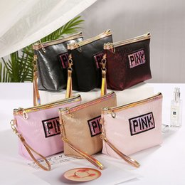 Travel make up sTorage online shopping - Makeup bags cosmetic bag Love Pink Travel bag letter Hologram Sequins Cosmetic bag Make Up bags Large capacity Storage waterproof wash