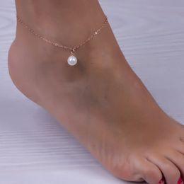 $enCountryForm.capitalKeyWord Australia - Luxury Pearl Pendant Ankle Bracelets Fashion Simple Women Anklets Foot Chain Summer Beach Sexy Barefoot Wild Designer Jewelry