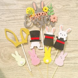 Easter Cupcake Cakes Australia - Happy Easter Decoration For Home Rabbit Cake Toppers Kids Happy Easter Party Cupcake Toppers Cake Decoration Flag Decor