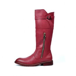 Wholesale Red Black Mens High Boots Pointed Toe Casual Zipper High Top Motorcycle Boots Male British Style Vintage Pu Leather Long Booties