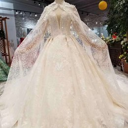 HigH quality cHapel veils online shopping - Luxury Sexy Wedding Gowns Long Tulle Applique Cape Sweetheart Off The Shoulder Wedding Dresses With Wedding Veil High Quality Customize