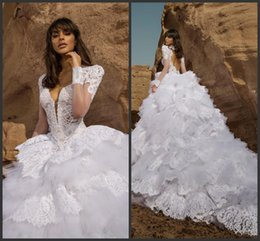 Pnina Tornai Wedding Dresses Ball UK - Long Sleeves Wedding Dresses Sheer Neckline Tiered Skirts Full Lace Bridal Dress Sweep Train Hollow Back Pnina Tornai Spring Wedding Gowns