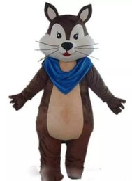 Chinese  2019 Factory direct sale a brown adult squirrel mascot costume with a blue scarf for adult to wear manufacturers