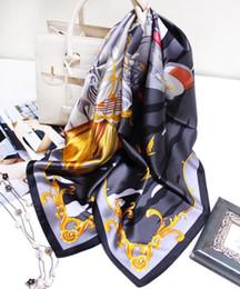 $enCountryForm.capitalKeyWord Australia - 2019 Winter Scarves 90*90cm Real Silk Scarves And Shawls Wraps Hijabs Horse Print Luxury Design Scarf Neckerchief Crop Top Multi Function Sc