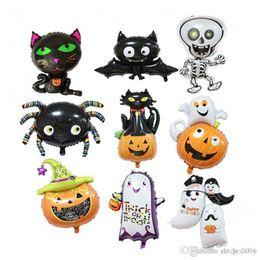 Toy Ghosts Australia - 2018 Halloween Pumpkin Ghost Black Bat Balloons Halloween Decoration Spider Foil Balloons Inflatable Toys Bat Globes Party Supplies