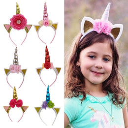 Discount hot cosplay cute girls Hot Girls Baby Unicorn Bowknot Party Hair Accessories Children Birthday Flower Kids Hairbands Cosplay Crown Cute Lovely