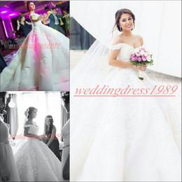 MhaMad wedding dresses online shopping - Exquisite Off Shoulder Said Mhamad Arabic Wedding Dresses Church Train Lace Floral Vestido de novia Bride Dress Country Bridal Ball Gowns