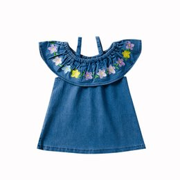 2d3a2f9d18 Baby girls off shoulder flower Denim Dress children Embroidered suspender princess  dresses 2019 summer boutique Kids Clothing C6323
