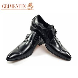 grimentin shoes UK - GRIMENTIN 2020 New hot sale formal men leather shoes black side buckle male business shoes for Italian fashion men shoes