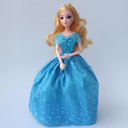 $enCountryForm.capitalKeyWord Australia - 1pcs 30cm Princenss Cinderella Girls Dolls 12 Joints DIY Big 3D Eyes Blue Party Dress Doll Toy For Children Juguetes