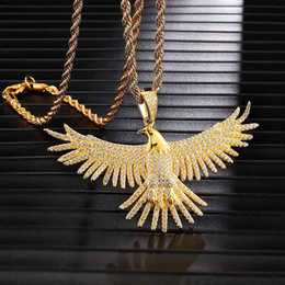 gold pendant d NZ - D&Z Bling Bling Cubic Zircon Flying Eagle Wings Necklace Men Gold Color Copper Animal Pendant Jewelry Hip Hop