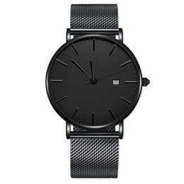 ultra thin watches mens UK - Hot Luxury Mens Watch Ultra Thin Dial Steel Mesh 30m Waterproof Watches Date Military Quartz Wristwatches Gift Clock Relogio Masculino