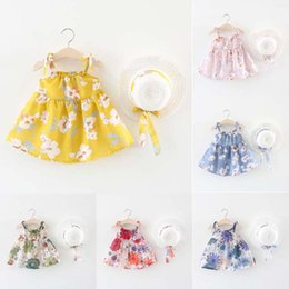 $enCountryForm.capitalKeyWord Canada - BNWIGE Baby Girls summer Dress With Hat 2pcs Set Cotton Print Floral Sleeveless Baby Girl Clothes Birthday Party Princess Dress Vestido C22
