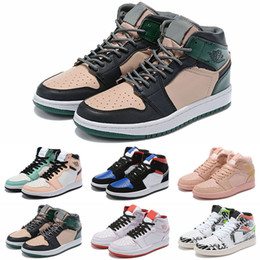 high fashion sneakers gold glitter 2021 - 2019 New Jumpman 1 High What the Pink Green Gold Graffiti Basketball Shoes High quality Fashion Women Mens 1s Sports Sne