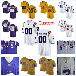 white football jerseys Australia - Mens NCAA Custom LSU Tigers College Football Jerseys Lowell Narcisse Caleb Lewis Jacob Phillips Devin White Wesley McKoy LSU Tigers Jersey