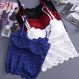 89b957cac15 Padded Lace Tops for Women Deep V Adjustable Straps Tube Vest Camisole Crop  Top Female Camisola sexy lingerie de renda