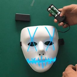 el wire pc Australia - Luminous Mask EL Wire Ghost Masks Glowing LED Mask Halloween Cosplay Mask Party Masks 20 pcs 9 Colors CFYZ285